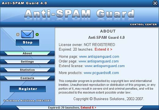 Click to view Anti-SPAM Guard 4.0 screenshot